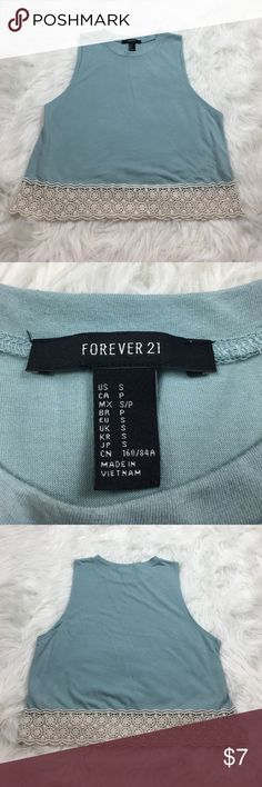 Forever 21 Blue Muscle Tank, Size S Blue muscle tank with crochet embroidery, size S Forever 21 Tops Muscle Tees