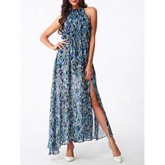 Bohemian Women's High Slit Printed Chiffon Dress