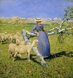 """Afternoon in the Alps"", 1892 (oil on canvas) Giovanni Segantini (1858-1899) Italian born Swiss Artist"