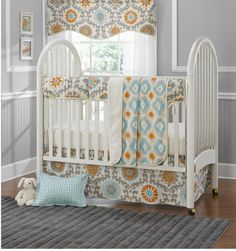 Mandarin Damask 4-pc. Baby Bedding Set with Rail Cover – American Made Dorm & Home