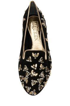 Alexander McQueen | Bee Embellishment Flat in Black