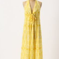 "Anthropologie ""lil"" yellow maxi dress Anthropologie ""lil"" yellow halter maxi dress - size 10 - maxi length - worn a few times, still practically new Anthropologie Dresses Maxi"