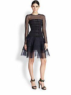 Oscar de la Renta - Tiered Silk Faille & Organza Bow Dress