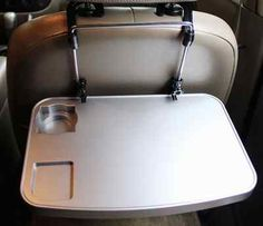 Silver Car Seat Tray Laptop Table Cup Holder Notebook Desk Back Mount Reading | eBay