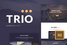 Ad: Trio UI Kit for Adobe XD by Nick Parker on Trio is a stylish kit of UI screens for the newest UI/UX tool from Adobe. Carefully crafted and easy to use landing page builder. Business Brochure, Business Card Logo, Landing Page Builder, Web Project, Adobe Xd, Grid System, Script Type, Business Illustration, Vector Shapes