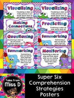 These reading comprehension posters are a bright and colourful addition to any classroom.  Now includes BOTH British and American spelling versions  A set of 6 posters explaining the Super Six Comprehension Strategies  1. Visualising 2. Making Connections 3. Questioning 4. Predicting 5. Summarising 6. Monitoring