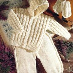 Baby hooded jacket trousers mitts knitting pattern pdf baby   Etsy Baby Cardigan, Sweater Jacket, Hooded Jacket, Baby Knitting Patterns, Pram Sets, Baby Prams, Knit Mittens, Baby Sweaters, Trousers