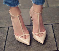 Zara pointy t-strap pumps -