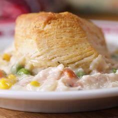 Chicken & Biscuits Bake Recipe by Tasty I Love Food, Good Food, Yummy Food, Yummy Mummy, Yummy Eats, Yummy Snacks, Chicken And Biscuits, Chicken Biscuit Casserole, Biscuit Chicken Pot Pie