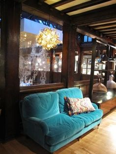 comfy turquoise velvet couch
