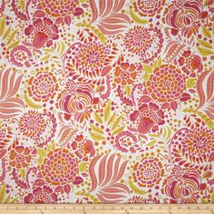 Chinoiserie Chic Pagoda Flower Pink from @fabricdotcom  By Dena Designs for Free Spirit, this cotton print fabric is perfect for quilting, apparel and home decor accents. Colors include orange, pink, citron, and white.