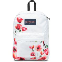 Jansport SuperBreak Backpack ($36) ❤ liked on Polyvore featuring bags, backpacks, white handle bags, vinyl bag, white bag, jansport bags and jansport rucksack