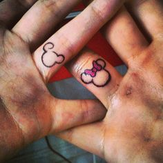 His and hers...Minnie & mickey mouse disney tattoo.@Donald Sandoval