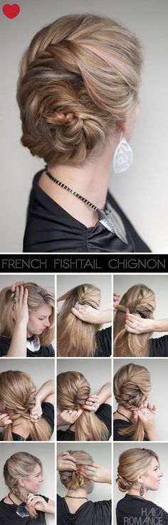 Romantic french fishtail braid chignon. #hairstyle #peinado #tocado #cheveux #pelo #tresse #braid #ponytail #trenza #hair