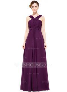 [R$ 390,06] Vestidos princesa/ Formato A Decote V Longos De chiffon Vestido de madrinha com Pregueado