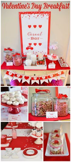 A Valentine's Day party with a cereal bar! Fun treats include cereals, berries and yogurt parfaits! See more party planning ideas at CatchMyParty.com!