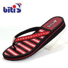 2017 Vietnamese Women Flip Flops Wedge Casual Beach Shoes Summer Gladiator Sandals Women's Flats Stripe Slides Slippers XK041109