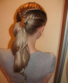 Swirly hair style, haha! Pretty sure you do waterfall braids in a swirly line until you reach the end of your hair!
