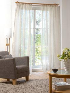 Vorhang aus Reinleinen-Voile in Weiß