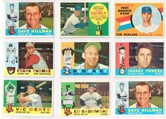 Nine ( 9 ) CARD  1960 Topps Lot : Stored in Nine Pocket Vinyl : Very Clean Cards
