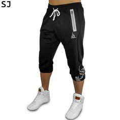93aacbfb6571d4 men fashion summer SJ 2017 New Brand High Quality Cotton 7 minutes of pants  Bodybuilding Fitness