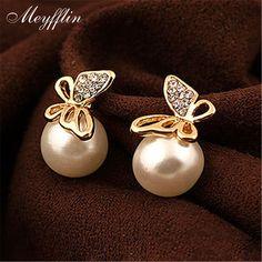 Simulado Perla Pendientes para Las Mujeres Brincos Cristal Boucle d'oreille Femme Mariposa Joyería de Moda Stud pendientes bijoux
