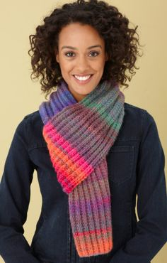 FREE Knitting Pattern ~ Rainbow Ridge Scarf ~ Skill Level-EASY