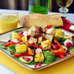 Smoked Chicken, Spinach, Grilled Pineapple and Pomegranate Salad - as flavourful as it is healthy.