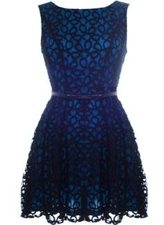 Coiled Lace Dress: Features a gorgeous swirled lace exterior with contrast teal-toned liner for pop, removable skinny belt adorned with a charming miniature bow, sloped V-design at rear, and a romantic A-line skirt to finish.