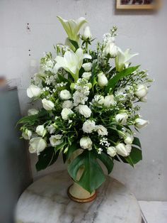 Funeral Spray Personalized Ribbon | Tall Arrangement WD003 | D & D Flowers & Gifts Fifty Flowers, D Flowers, Church Flowers, Winter Flowers, Funeral Flowers, Winter Flower Arrangements, Floral Arrangements, Green Centerpieces, Centerpiece Ideas