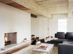 Ten Broek Cottage Living Room with Minimalist Fireplace by Messana O'Rorke Architects Cottage Living Rooms, Home And Living, Living Room Decor, Foyers, Minimalist Fireplace, Modern Fireplace, Gravity Home, Moraira, Rustic Room