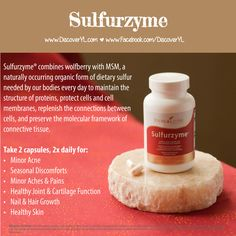 Young Living Essential Oils | Sulfurzyme for minor acne, seasonal discomfort, minor aches & pains, and healthy joint & cartilage function