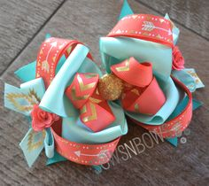 Southwest Style Hair Bow in Coral and Teal with Gold Accents + How To Stiffen Hair Bows SewsNBows Making Hair Bows, Diy Hair Bows, Diy Bow, Bow Making, Hair Ribbons, Ribbon Bows, Hair Bow Tutorial, Boutique Hair Bows, Diy Hair Accessories