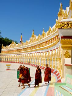 Little monks at the Temple at Sagaing Hill, Mandalay, Myanmar