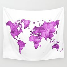 Purple watercolor world map Wall Tapestry