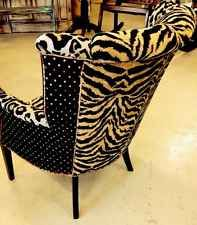 Stunning Designer Dramatic Flared Wingback Chair Zebra Silk Curved Back