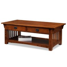 Leick+Furniture+-+Coffee+Table+in+Medium+Oak+Finish