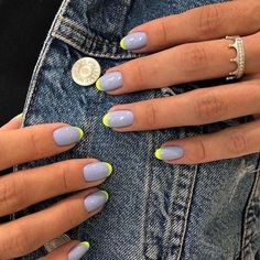 Cute Acrylic Nails, Cute Nails, Pretty Nails, Cute Simple Nails, Fancy Nails, French Manicure Designs, Diy Nail Designs, Nails Design, Neon French Manicure