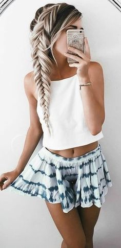 #summer #trends #outfits |  White Crop + Girly Short