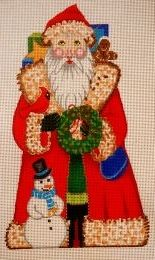 Santa with Wreath  $94  Amanda Lawford  This is a hand painted needlepoint canvas from the Amanda Lawford collection.   We can match any canvas with your favorite needlepoint yarn to create custom needlepoint kits. 8.5x12 13 count