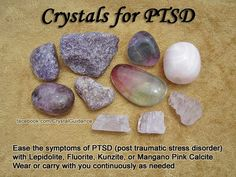 Crystals for PTSD — Ease the symptoms of PTSD (post traumatic stress disorder) with Lepidolite, Fluorite, Kunzite, or Mangano Pink Calcite. Wear or carry with you continuously as needed. Gems And Minerals, Crystals Minerals, Crystals And Gemstones, Stones And Crystals, Gem Stones, Crystal Uses, Crystal Magic, Crystal Grid, Crystal Meanings