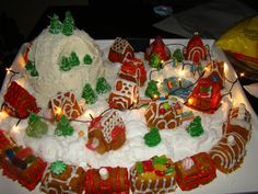 Lighted Christmas Cake Village using Nordicware's train and village cake pans.