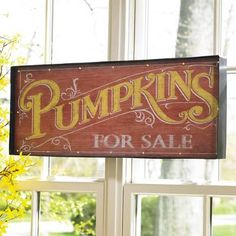 Celebrate a simpler time and put your fall spirit in lights with our Pumpkins For Sale Marquee Sign. A fun and unexpected way to brighten up your harvest d, as well as achieve a chic farmhouse look. At nearly 3 ft. wide and equipped with lights, it makes a fantastic focal point, day or night. Bold yellow-and-white type over orange, with the distinctive appearance of a vintage, hand-lettered sign. Bright LEDs, intermittently placed around the perimeter, keep the message clear no ... Halloween Signs, Fall Halloween, Halloween Decorations, Halloween Mantel, Pumpkins For Sale, Fall Pumpkins, Wood Pumpkins, Marquee Sign, Holiday Signs