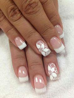 Eenvoud siert! Bride Nails, Wedding Nails, Cute Nails, Pretty Nails, Hair And Nails, My Nails, Bella Nails, French Nail Art, Flower Nails