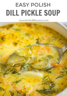 Classic Polish Dill Pickle Soup is ready in just 30 minutes and provides you with a hearty and satisfying bite. It's savory, creamy and kids love it too. Dill Recipes, Gourmet Recipes, Cooking Recipes, Healthy Recipes, Creamy Soup Recipes, Kids Soup Recipes, Low Carb Soup Recipes, Healthy Soup, Dessert Recipes
