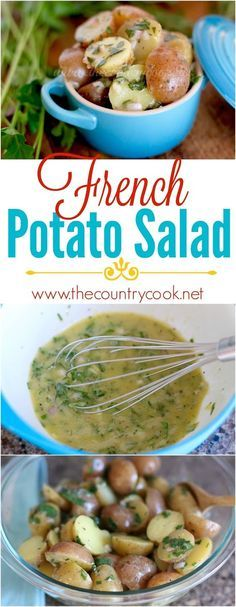 French Potato Salad recipe from The Country Cook. An AMAZING vinaigrette with lots of fresh herbs all tossed with creamy little potatoes. Plus, it doesn't have any mayo in it so it's perfect to bring (Best Salad Recipes) French Potato Salad, French Potatoes, Potato Dishes, Potato Recipes, Cooking Recipes, Healthy Recipes, Country Cooking, Side Dish Recipes, Side Dishes