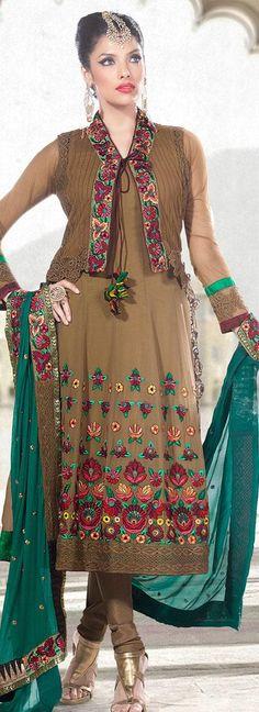 $116.33 Brown Full Sleeve Faux Georgette and Net Long Anarkali Salwar Kameez 18291