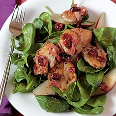 This hearty dinner salad is a fresh and flavorful entrée with a sweet kick of cranberries atop savory pork tenderloins.