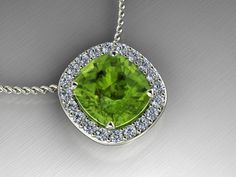 Diamond and peridot White gold pendant. From Luxedogems.com