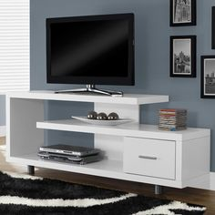 Monarch 60 in. Horizontal/Vertical Etagere / TV Console - Life is way more fun with you have options. Thankfully, the Monarch 60 in. Horizontal/Vertical Etagere / TV Console gives you plenty of room to. Living Room Tv, Living Spaces, Tv Regal, Tv Shelf, Cool Tv Stands, Modern Tv, Modern Design, Modern Minimalist, Tv Consoles